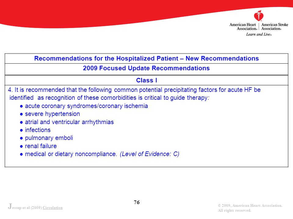 J essup et al (2009) Circulation © 2009, American Heart Association. All rights reserved. 76 Recommendations for the Hospitalized Patient – New Recomm