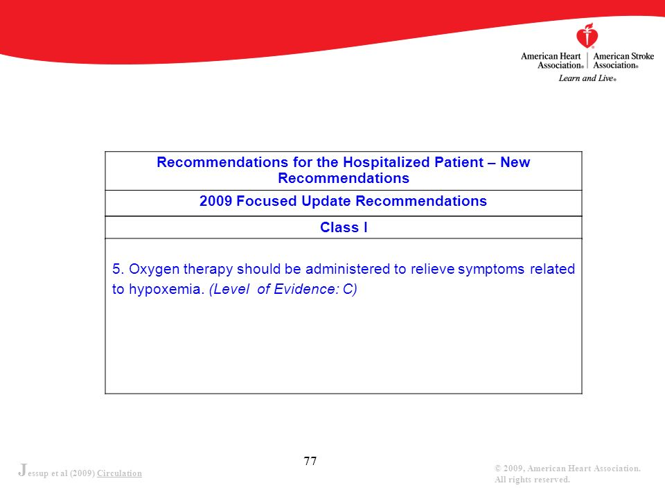J essup et al (2009) Circulation © 2009, American Heart Association. All rights reserved. 77 Recommendations for the Hospitalized Patient – New Recomm