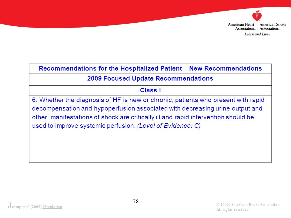 J essup et al (2009) Circulation © 2009, American Heart Association. All rights reserved. 78 Recommendations for the Hospitalized Patient – New Recomm