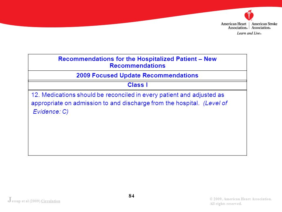 J essup et al (2009) Circulation © 2009, American Heart Association. All rights reserved. 84 Recommendations for the Hospitalized Patient – New Recomm