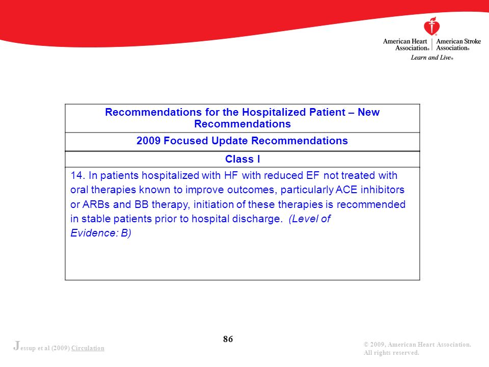 J essup et al (2009) Circulation © 2009, American Heart Association. All rights reserved. 86 Recommendations for the Hospitalized Patient – New Recomm