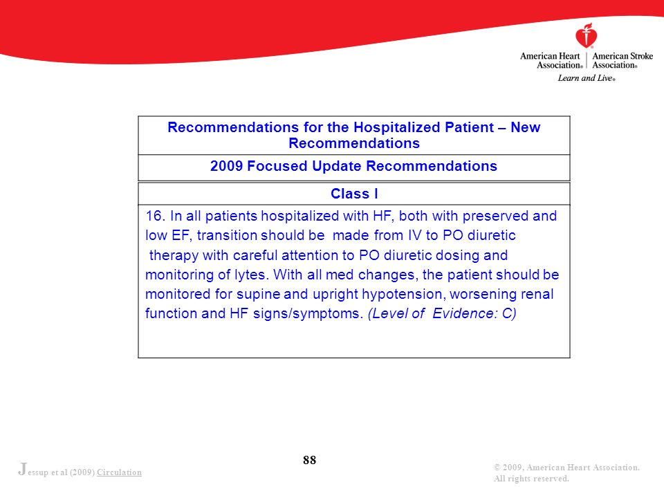 J essup et al (2009) Circulation © 2009, American Heart Association. All rights reserved. 88 Recommendations for the Hospitalized Patient – New Recomm