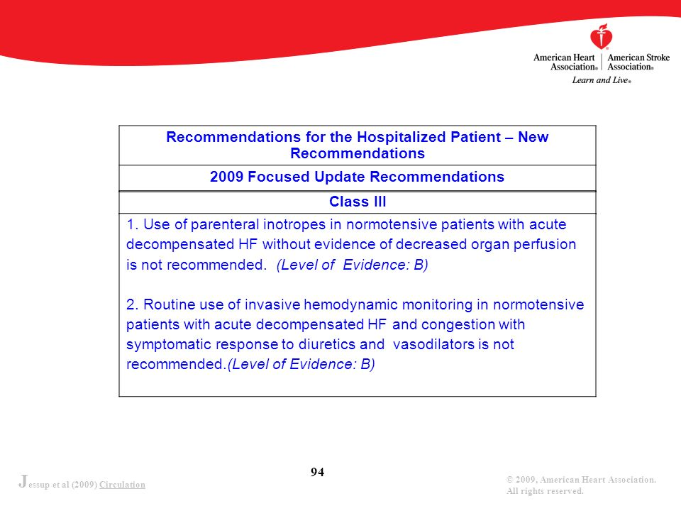 J essup et al (2009) Circulation © 2009, American Heart Association. All rights reserved. 94 Recommendations for the Hospitalized Patient – New Recomm