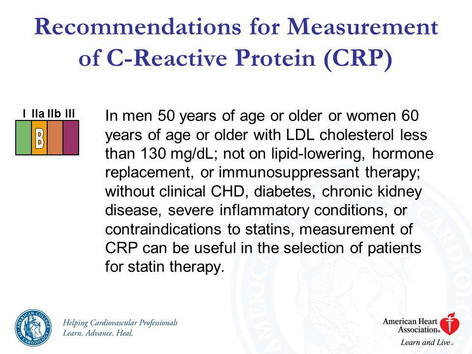 Recommendations for Measurement of C-Reactive Protein (CRP) In men 50 years of age or older or women 60 years of age or older with LDL cholesterol les