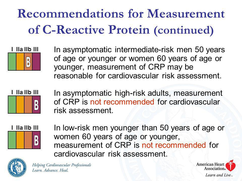 Recommendations for Measurement of C-Reactive Protein (continued) In asymptomatic intermediate-risk men 50 years of age or younger or women 60 years o
