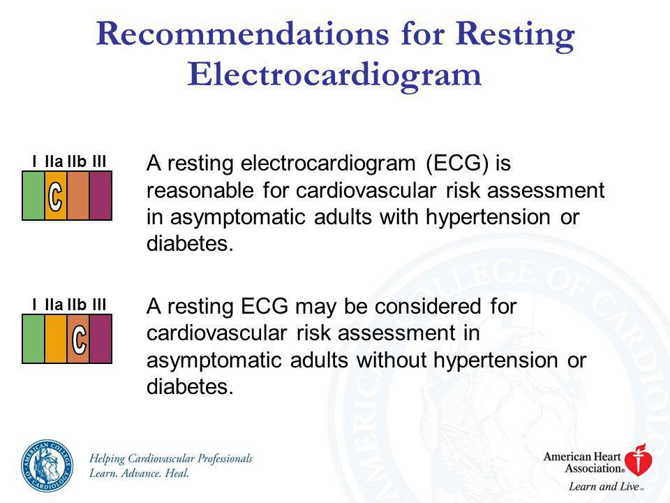 A resting electrocardiogram (ECG) is reasonable for cardiovascular risk assessment in asymptomatic adults with hypertension or diabetes. A resting ECG