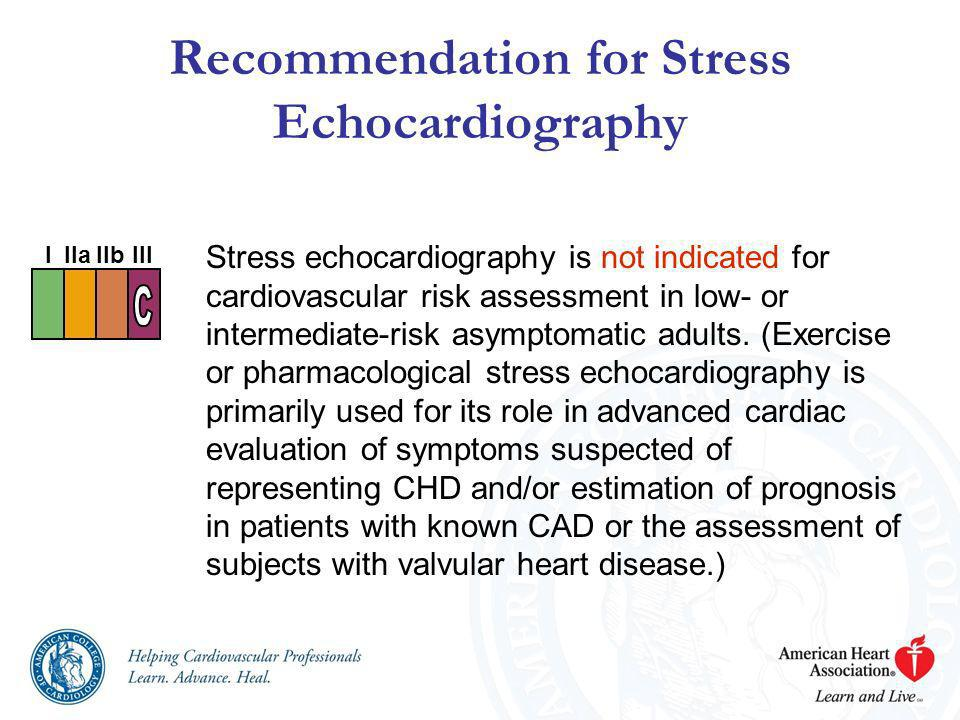 Recommendation for Stress Echocardiography Stress echocardiography is not indicated for cardiovascular risk assessment in low- or intermediate-risk as