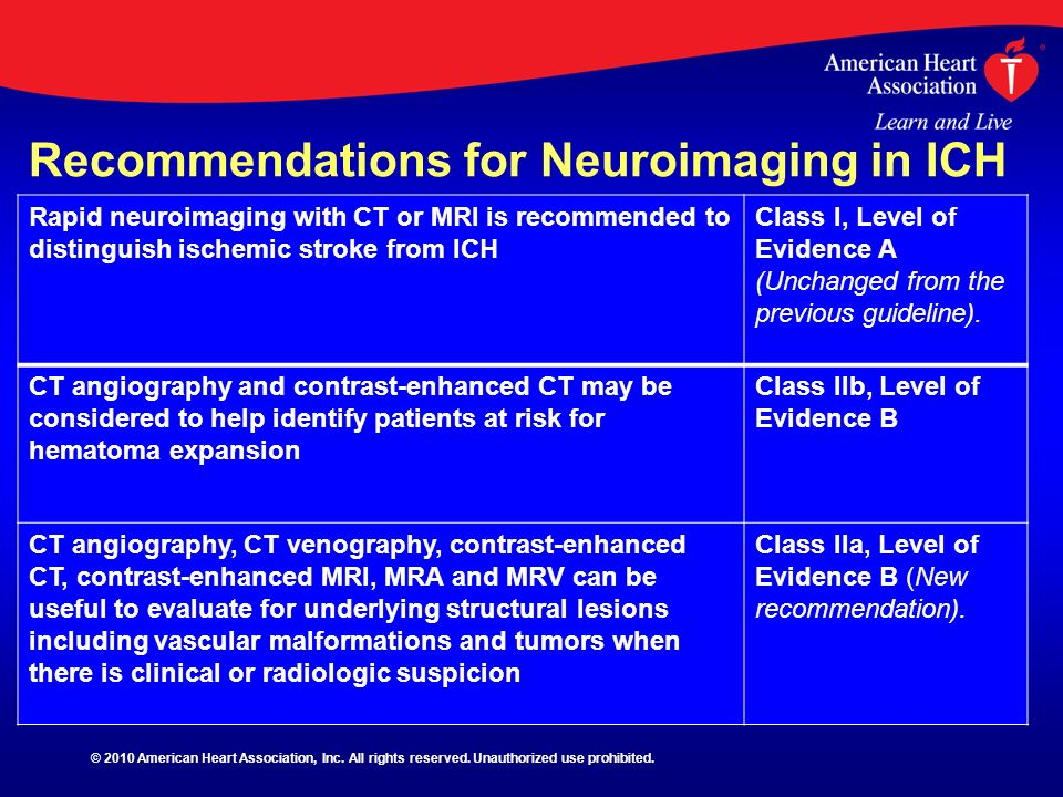 Recommendations for Neuroimaging in ICH Rapid neuroimaging with CT or MRI is recommended to distinguish ischemic stroke from ICH Class I, Level of Evi