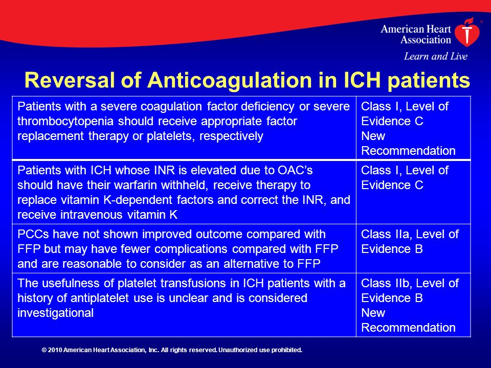 Reversal of Anticoagulation in ICH patients Patients with a severe coagulation factor deficiency or severe thrombocytopenia should receive appropriate