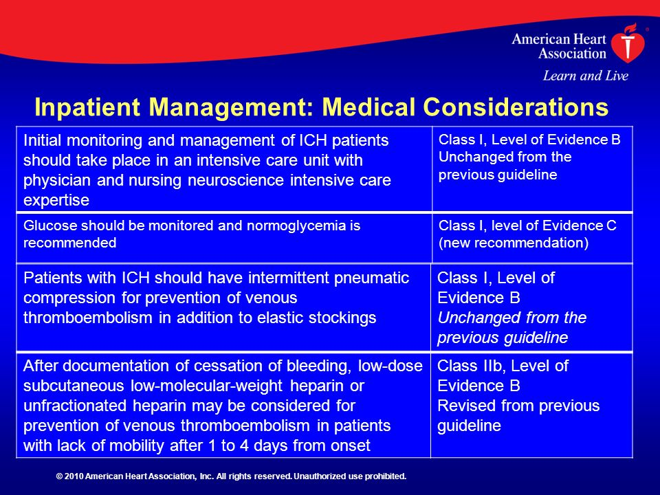 Inpatient Management: Medical Considerations Initial monitoring and management of ICH patients should take place in an intensive care unit with physic