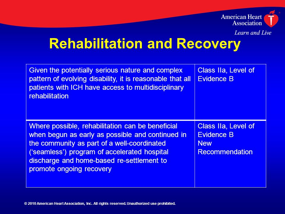 Rehabilitation and Recovery Given the potentially serious nature and complex pattern of evolving disability, it is reasonable that all patients with I