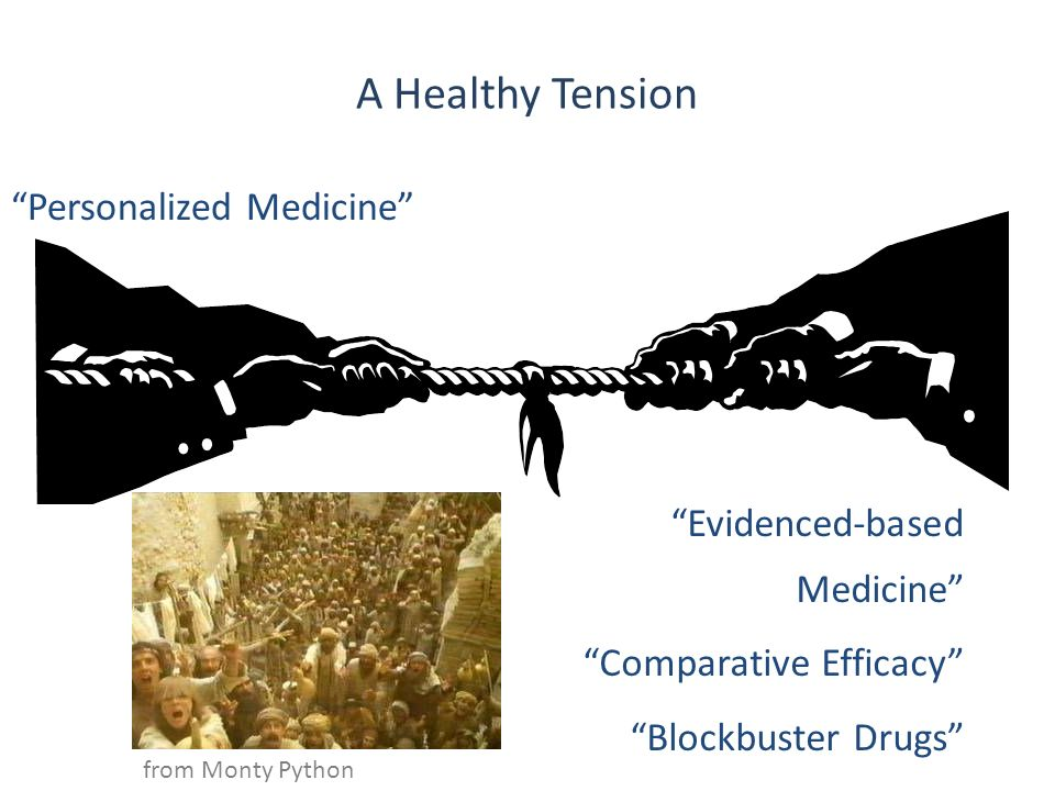 A Healthy Tension Personalized Medicine Evidenced-based Medicine Comparative Efficacy Blockbuster Drugs from Monty Python