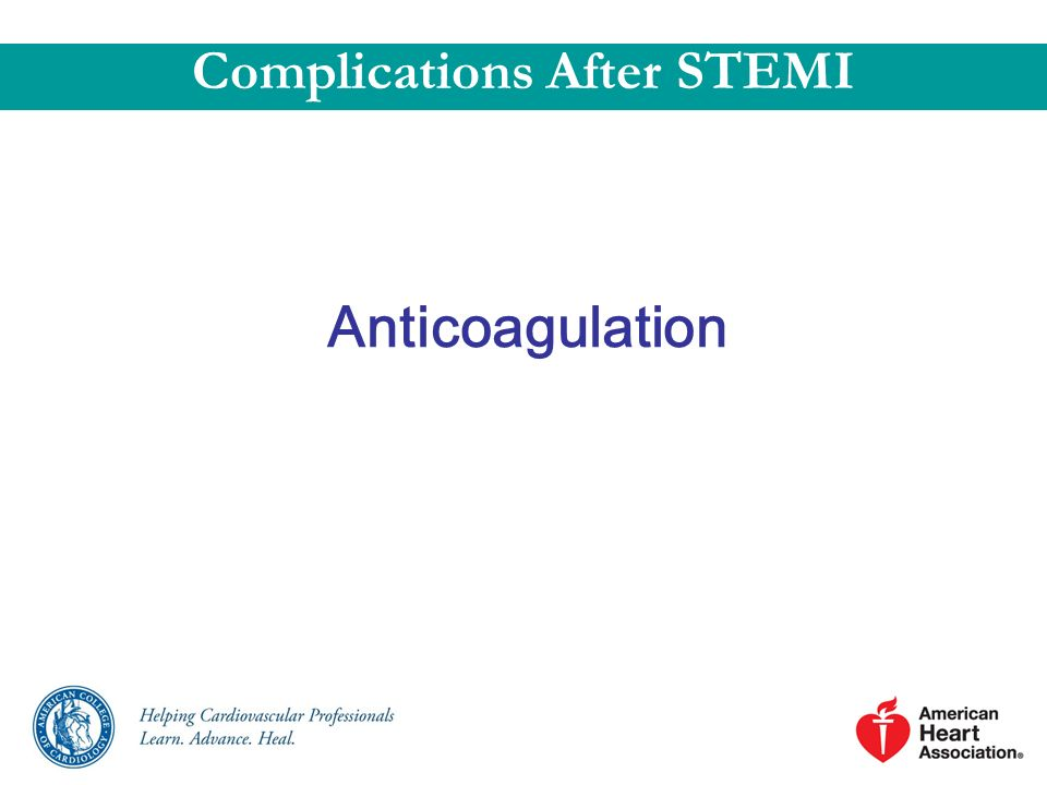 Anticoagulation Complications After STEMI