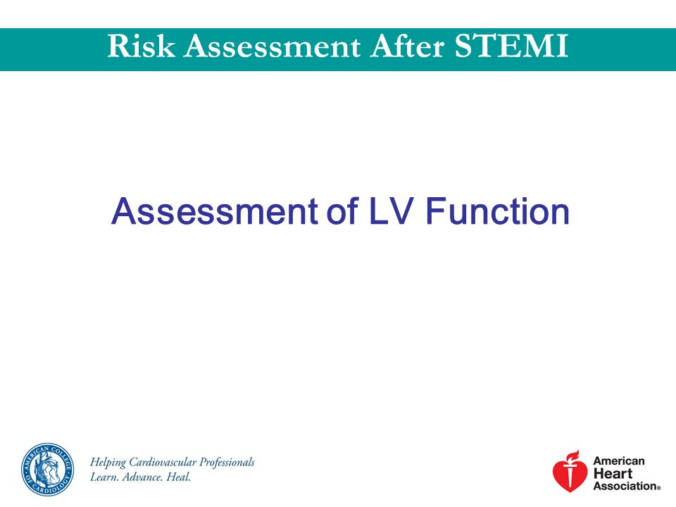 Assessment of LV Function Risk Assessment After STEMI