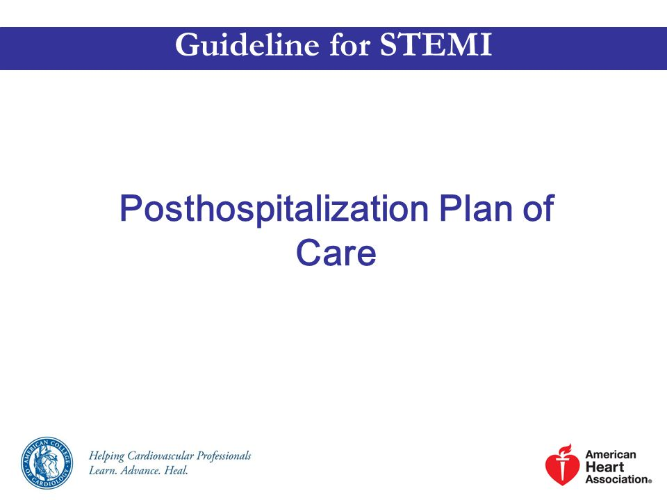 Posthospitalization Plan of Care Guideline for STEMI
