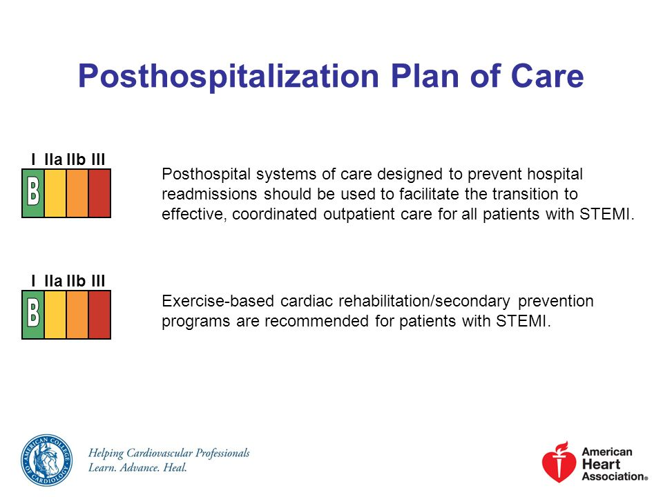 Posthospitalization Plan of Care Posthospital systems of care designed to prevent hospital readmissions should be used to facilitate the transition to