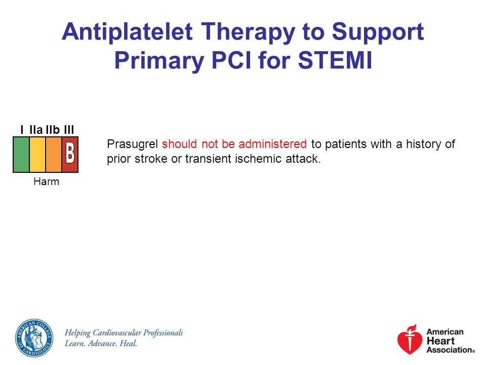 Antiplatelet Therapy to Support Primary PCI for STEMI Prasugrel should not be administered to patients with a history of prior stroke or transient isc