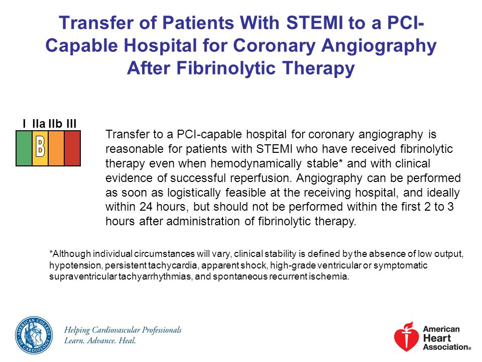 Transfer of Patients With STEMI to a PCI- Capable Hospital for Coronary Angiography After Fibrinolytic Therapy Transfer to a PCI-capable hospital for