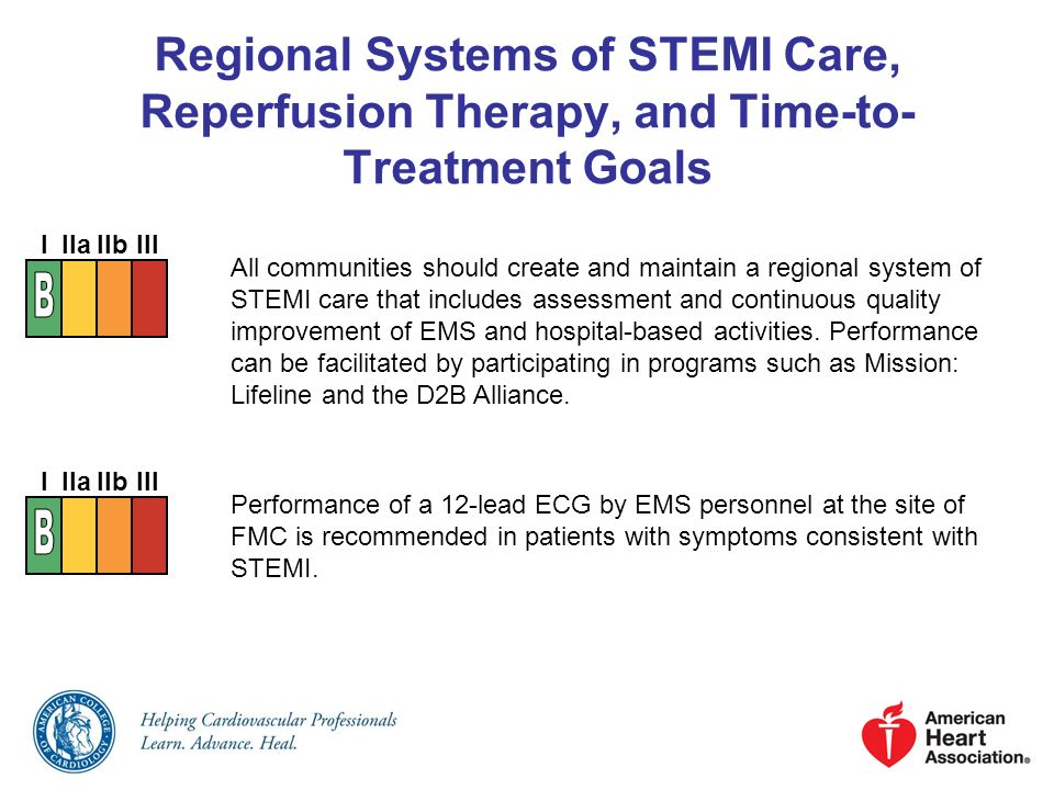 Regional Systems of STEMI Care, Reperfusion Therapy, and Time-to- Treatment Goals All communities should create and maintain a regional system of STEM