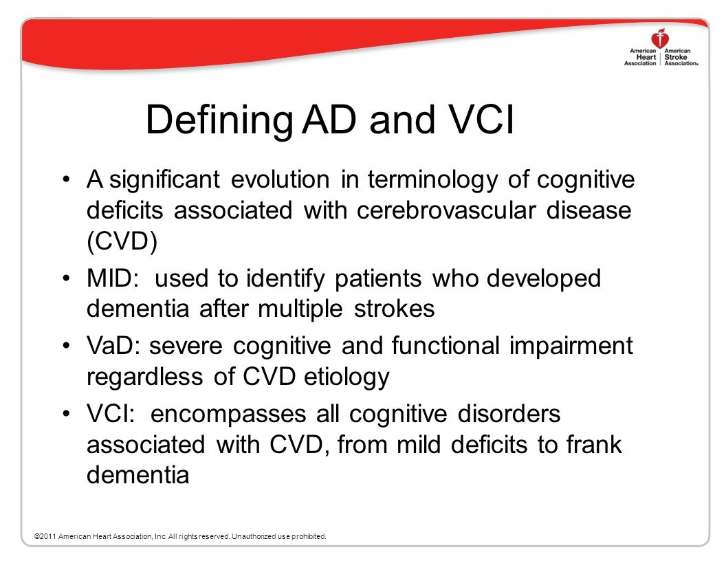 This slide set Will Cover the Current State of the Field Definitions of AD and VCI The basic pathophysiologic underpinnings of VCI Challenges in defin