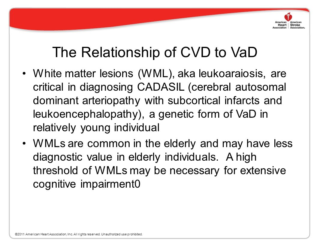 The Relationship of CVD to VaD Neuroimaging of cortical infarcts, subcortical infarcts and other stroke lesions is critical when associating stroke wi