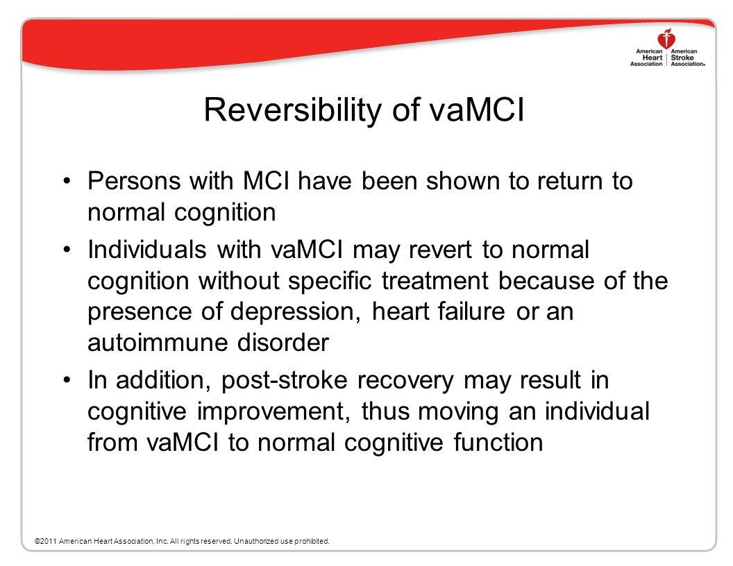 Mild Vascular Cognitive Impairment Current MCI criteria include amnestic MCI and MCI associated with other cognitive impairment (amnestic MCI + other