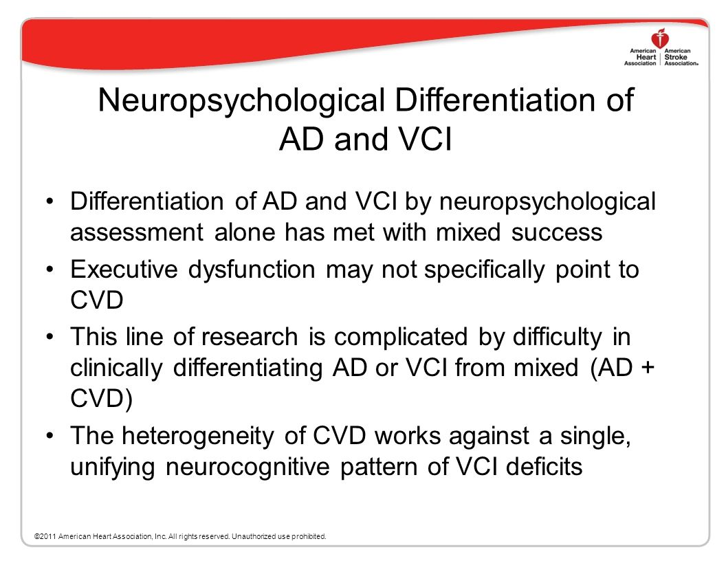 Neuropsychological Assessment of VCI 2006 NINDS-Canadian Stroke Council VCI Harmonization guidelines include suggested neuropsychological protocols fo