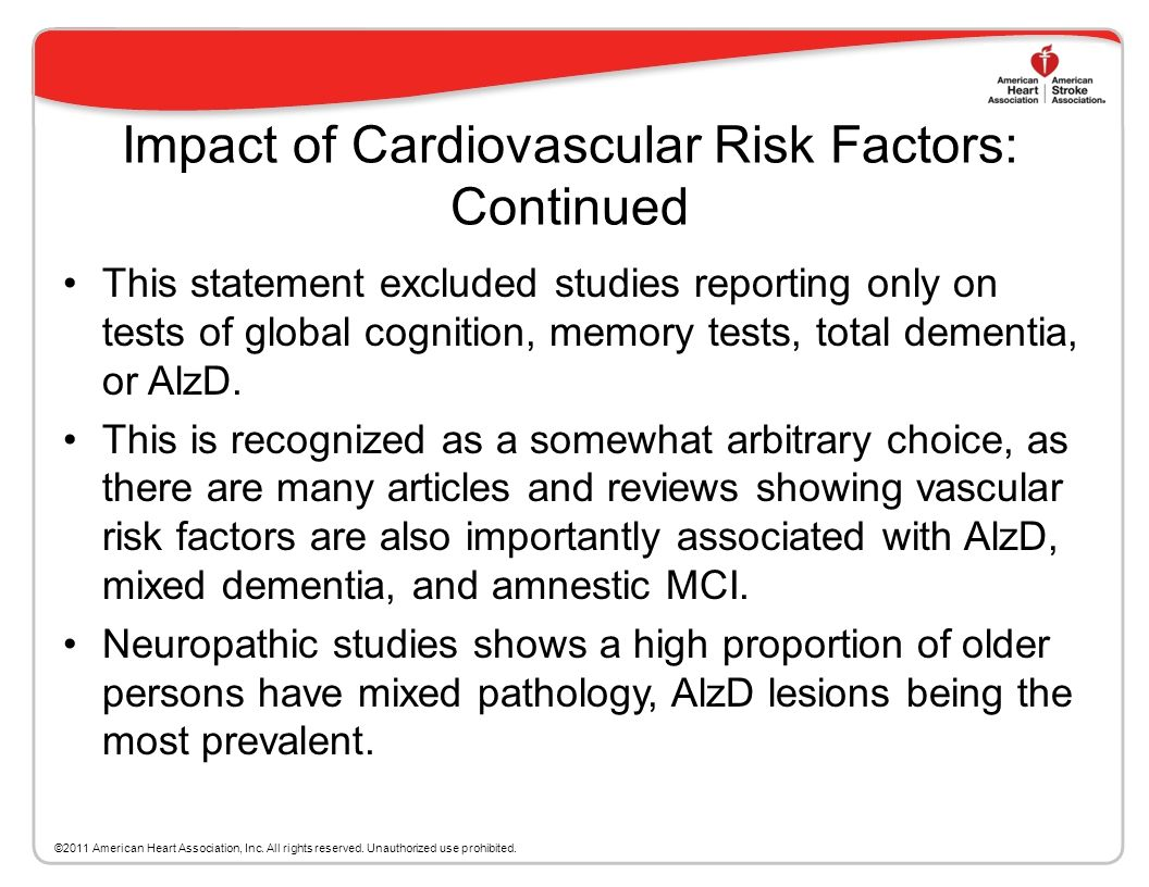 Impact of Cardiovascular Risk Factors at Different Ages on the Risk of Cognitive Decline Included studies addressing the range of cognitive impairment