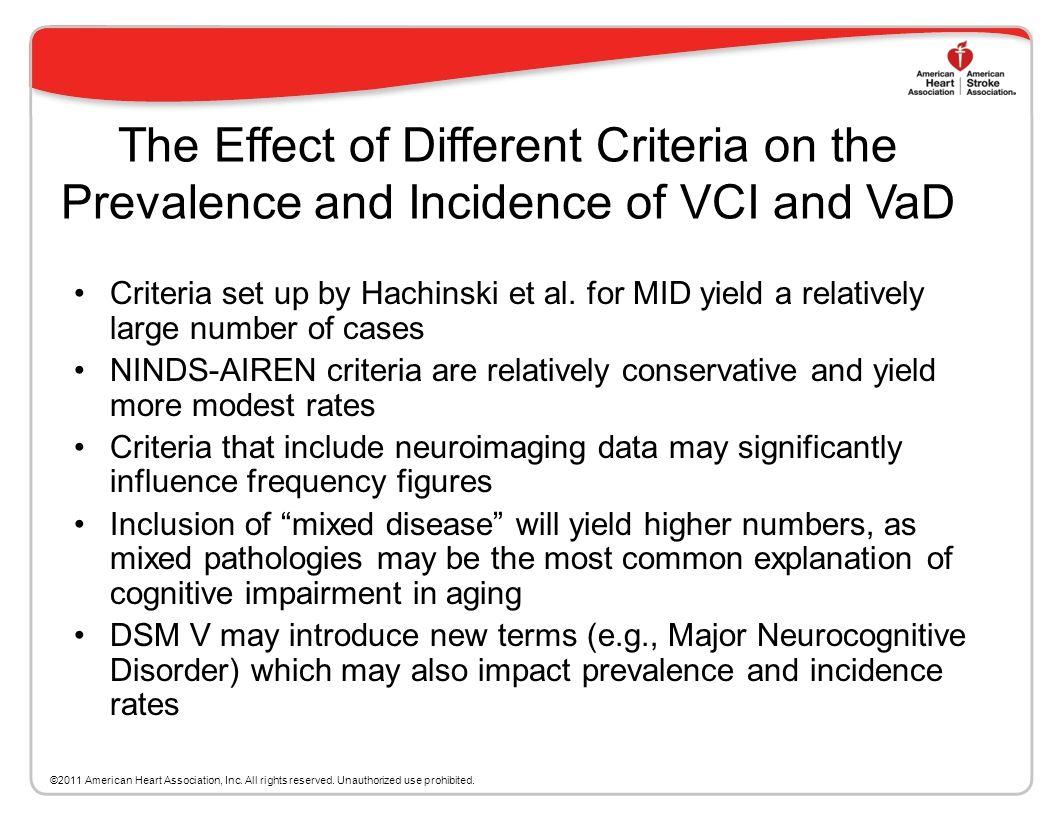Vascular Cognitive Impairment (VCI) Includes: Prodrome conditions, such as Vascular Cognitive Impairment, No Dementia (VCIND) or Vascular Mild Cogniti