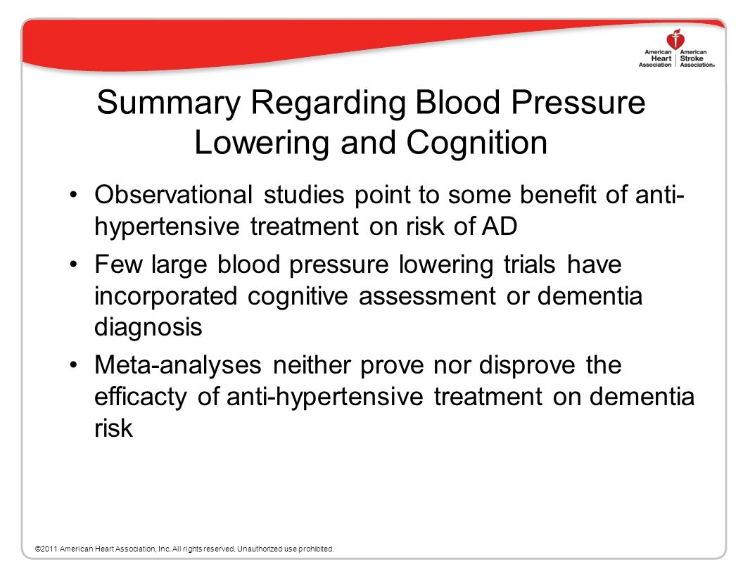 Summary of Meta-analyses of Randomized Trials of Blood Pressure Lowering Treatment on Prevention of Dementia Five meta-analyses have been published on