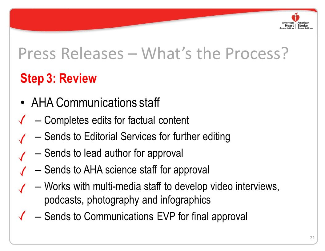 20 Step 2: Writing the release AHA communications staff – Assigns the release to a freelance writer – Provides writer manuscript, abstract and notes from AHA science staff Freelance writer – Interviews author(s) of study – Writes draft release and sends to AHA Communications staff Press Releases – Whats the Process
