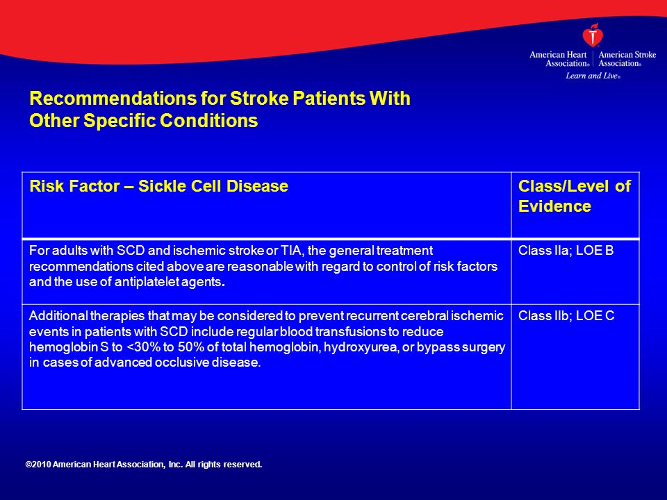 Risk Factor – Sickle Cell DiseaseClass/Level of Evidence For adults with SCD and ischemic stroke or TIA, the general treatment recommendations cited a
