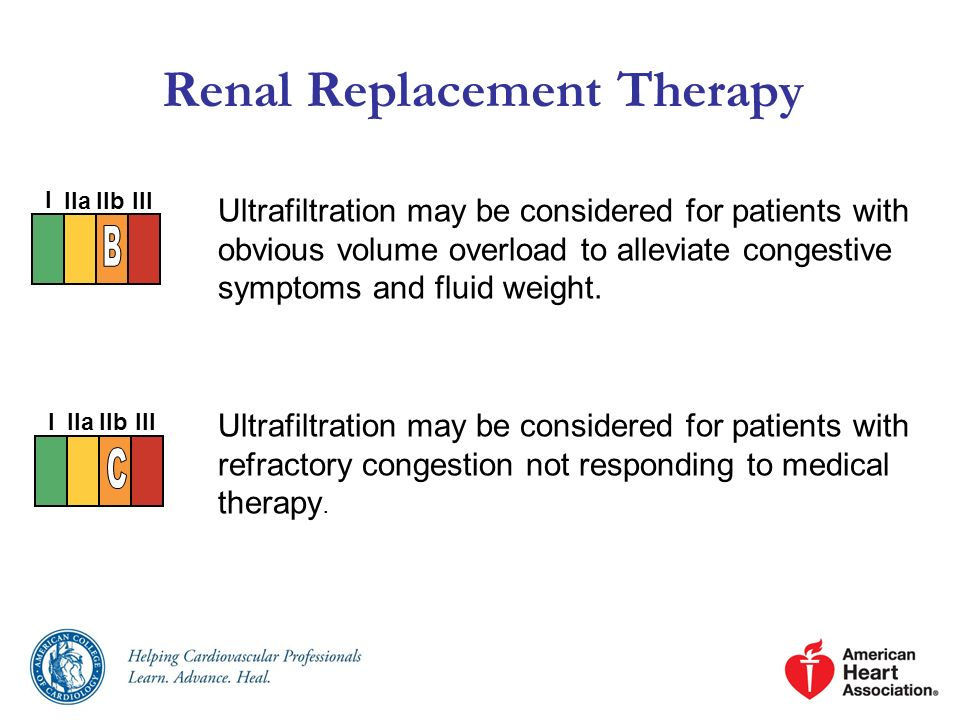 Renal Replacement Therapy Ultrafiltration may be considered for patients with obvious volume overload to alleviate congestive symptoms and fluid weigh