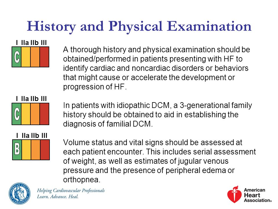 A thorough history and physical examination should be obtained/performed in patients presenting with HF to identify cardiac and noncardiac disorders o