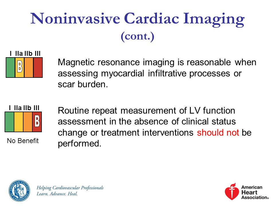 Noninvasive Cardiac Imaging (cont.) Magnetic resonance imaging is reasonable when assessing myocardial infiltrative processes or scar burden. Routine