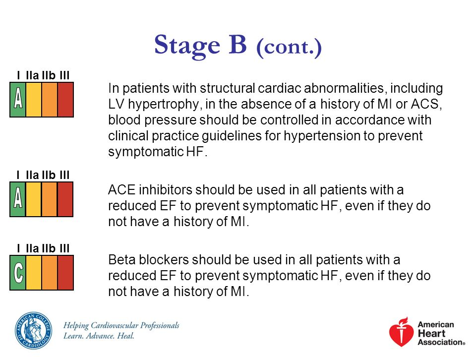 Stage B (cont.) In patients with structural cardiac abnormalities, including LV hypertrophy, in the absence of a history of MI or ACS, blood pressure