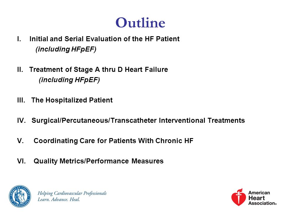 I.Initial and Serial Evaluation of the HF Patient (including HFpEF) II. Treatment of Stage A thru D Heart Failure (including HFpEF) III. The Hospitali