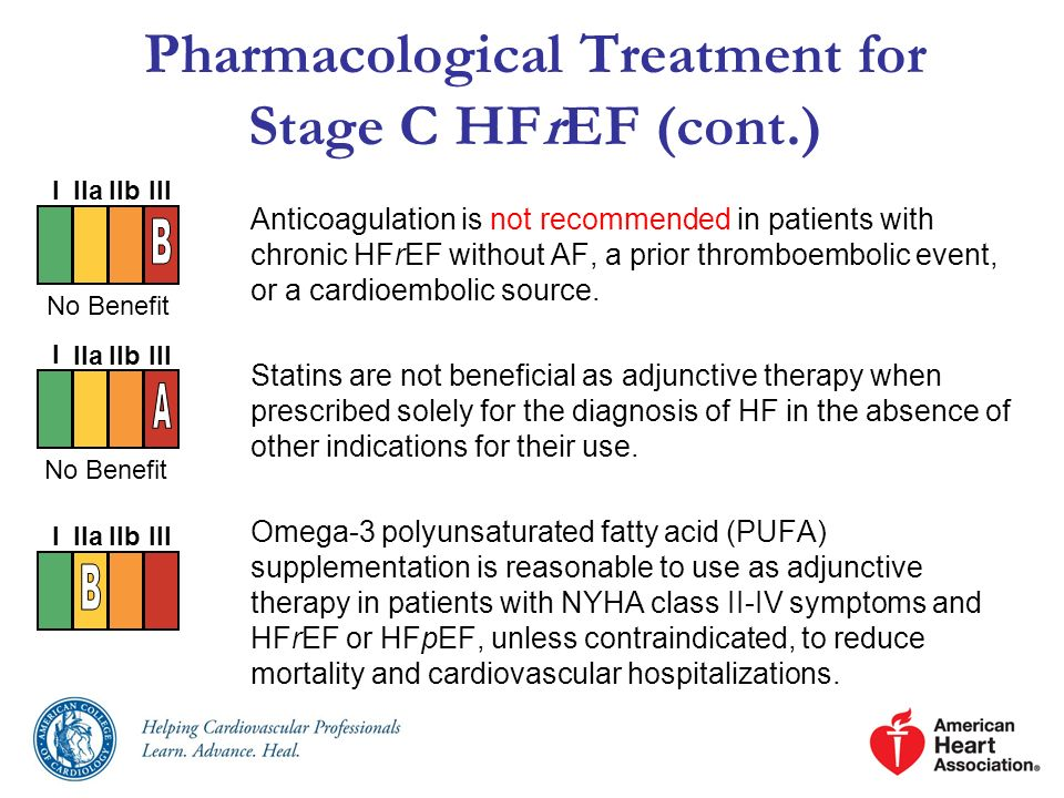 Pharmacological Treatment for Stage C HFrEF (cont.) Anticoagulation is not recommended in patients with chronic HFrEF without AF, a prior thromboembol