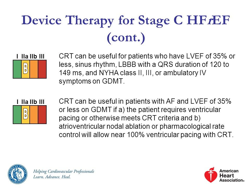 Device Therapy for Stage C HFrEF (cont.) CRT can be useful for patients who have LVEF of 35% or less, sinus rhythm, LBBB with a QRS duration of 120 to
