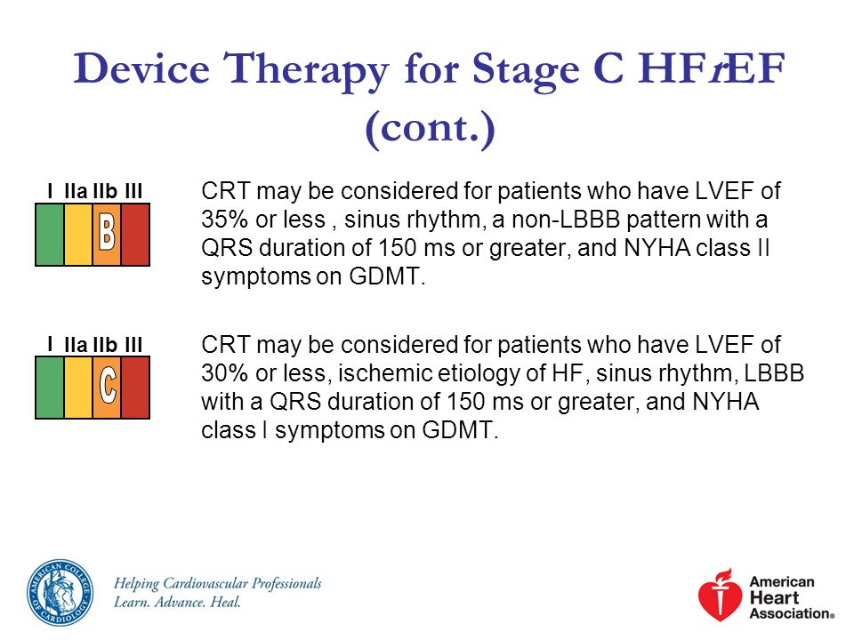 Device Therapy for Stage C HFrEF (cont.) CRT may be considered for patients who have LVEF of 35% or less, sinus rhythm, a non-LBBB pattern with a QRS