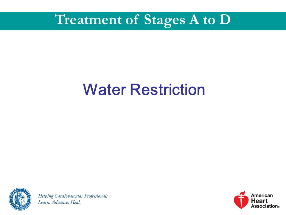 Water Restriction Treatment of Stages A to D