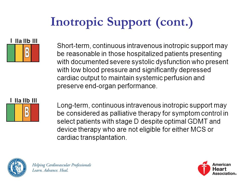 Inotropic Support (cont.) Short-term, continuous intravenous inotropic support may be reasonable in those hospitalized patients presenting with docume
