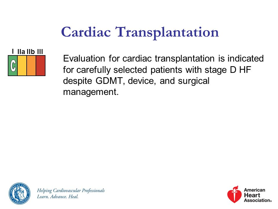 Cardiac Transplantation Evaluation for cardiac transplantation is indicated for carefully selected patients with stage D HF despite GDMT, device, and