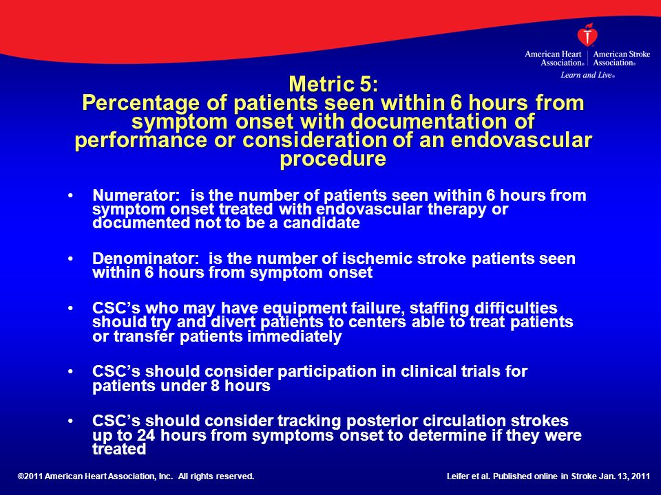 Metric 5: Percentage of patients seen within 6 hours from symptom onset with documentation of performance or consideration of an endovascular procedur
