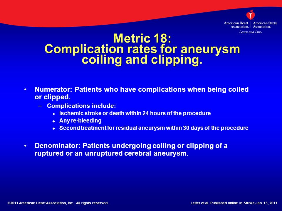 Metric 18: Complication rates for aneurysm coiling and clipping. Numerator: Patients who have complications when being coiled or clipped. – –Complicat