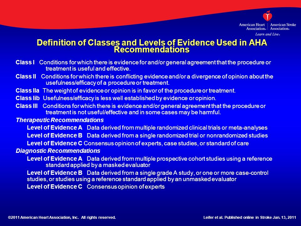 Definition of Classes and Levels of Evidence Used in AHA Recommendations Class I Conditions for which there is evidence for and/or general agreement t