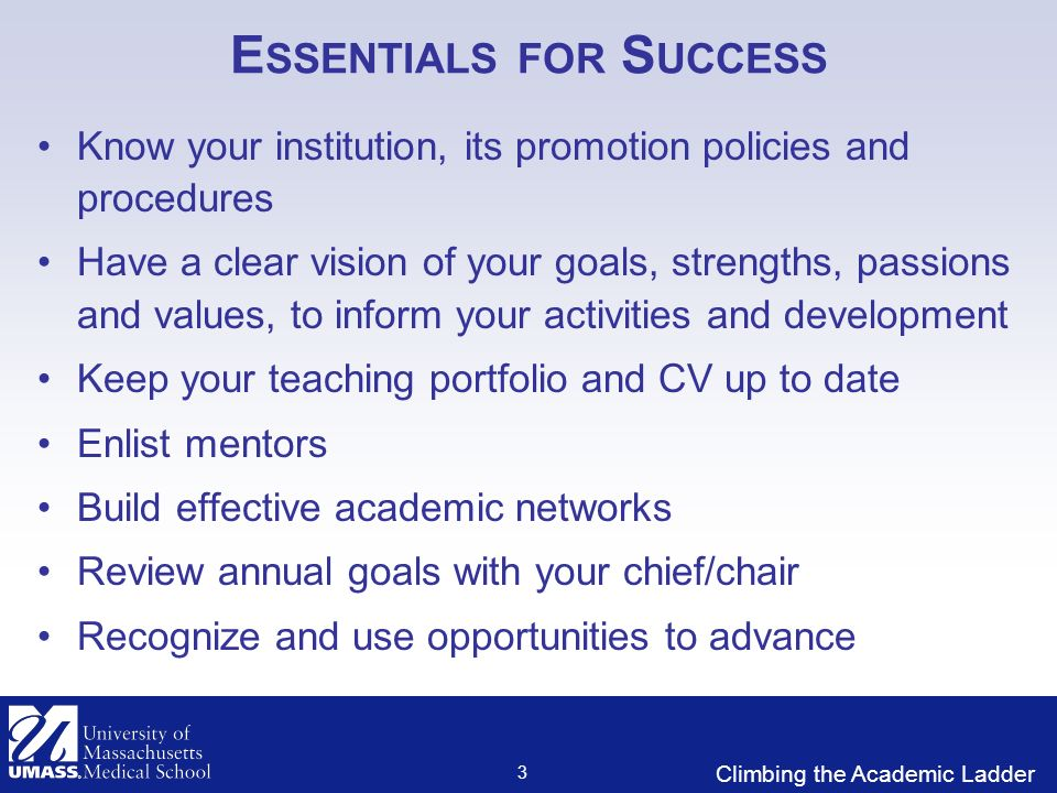Climbing the Academic Ladder E SSENTIALS FOR S UCCESS Know your institution, its promotion policies and procedures Have a clear vision of your goals, strengths, passions and values, to inform your activities and development Keep your teaching portfolio and CV up to date Enlist mentors Build effective academic networks Review annual goals with your chief/chair Recognize and use opportunities to advance 3