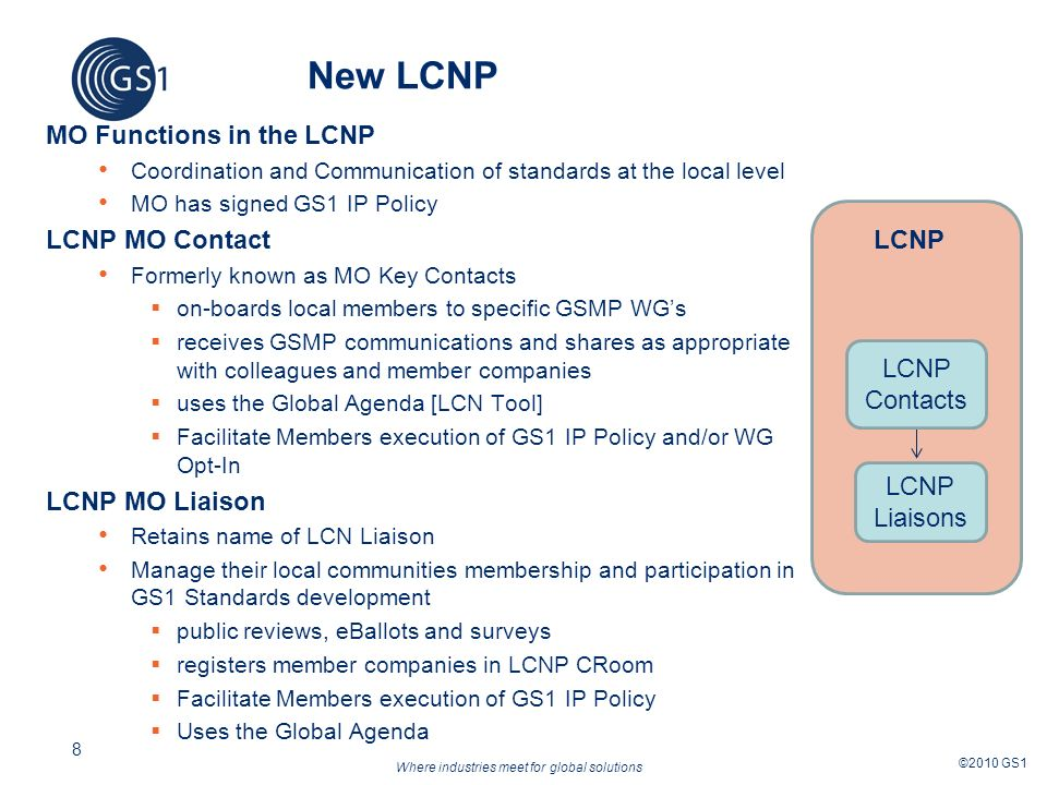 Where industries meet for global solutions ©2010 GS1 8 LCN New LCNP MO Functions in the LCNP Coordination and Communication of standards at the local level MO has signed GS1 IP Policy LCNP MO Contact Formerly known as MO Key Contacts on-boards local members to specific GSMP WGs receives GSMP communications and shares as appropriate with colleagues and member companies uses the Global Agenda [LCN Tool] Facilitate Members execution of GS1 IP Policy and/or WG Opt-In LCNP MO Liaison Retains name of LCN Liaison Manage their local communities membership and participation in GS1 Standards development public reviews, eBallots and surveys registers member companies in LCNP CRoom Facilitate Members execution of GS1 IP Policy Uses the Global Agenda LCNP Liaisons LCNP Contacts LCNP