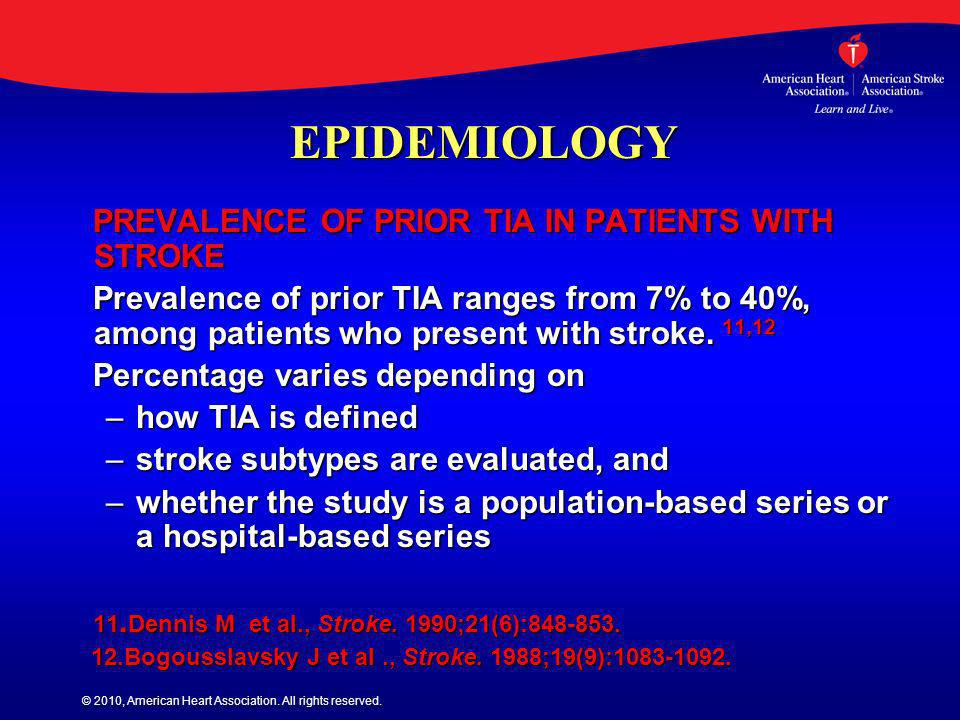 © 2010, American Heart Association. All rights reserved. EPIDEMIOLOGY PREVALENCE OF PRIOR TIA IN PATIENTS WITH STROKE PREVALENCE OF PRIOR TIA IN PATIE