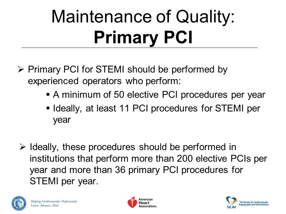 Maintenance of Quality: Primary PCI Primary PCI for STEMI should be performed by experienced operators who perform: A minimum of 50 elective PCI proce